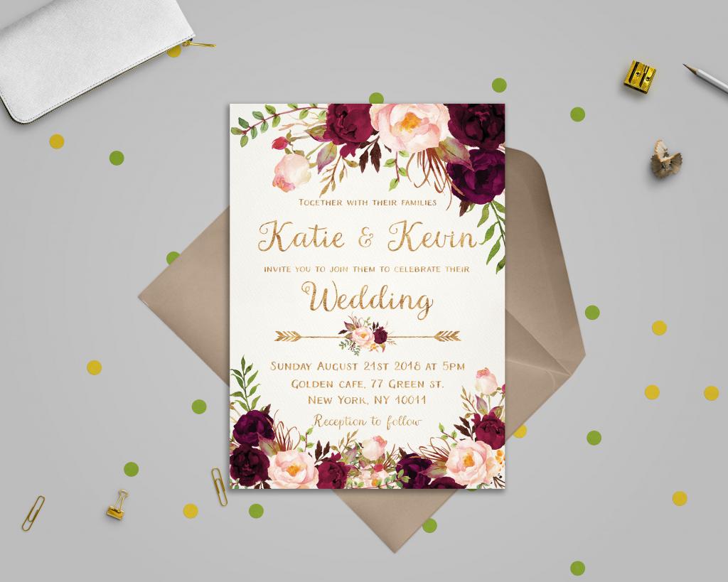 Floral Wedding Invitation Template Wedding Invitation | Etsy | Printable Wedding Invitation Card Sample