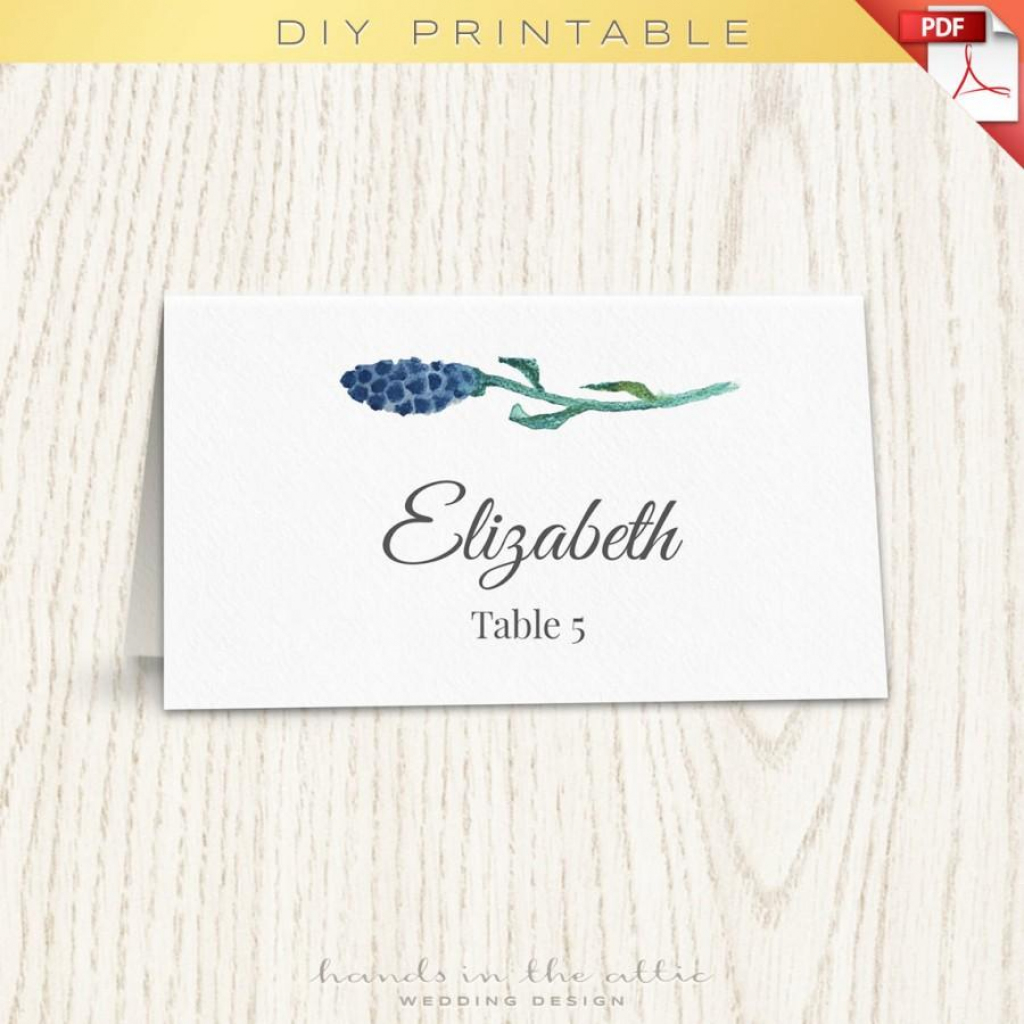 Floral Wedding Placecard Template, Printable Escort Cards, Wedding   Free Printable Damask Place Cards