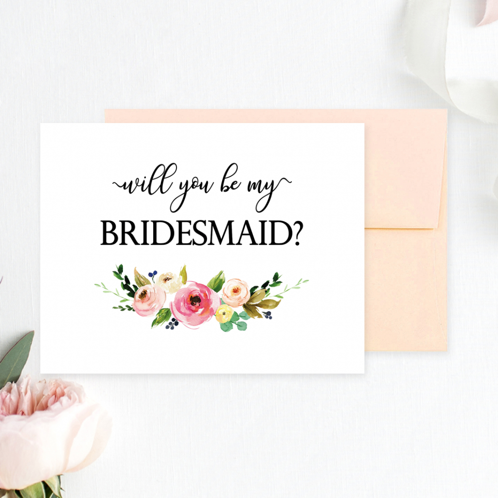 Floral Will You Be My Bridesmaid Printable Cards - Chicfetti | Will You Be My Bridesmaid Cards Printable