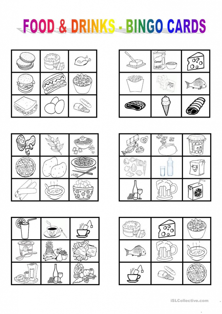 Food And Drinks - Bingo Cards Worksheet - Free Esl Printable | Free Printable Bingo Cards For Teachers