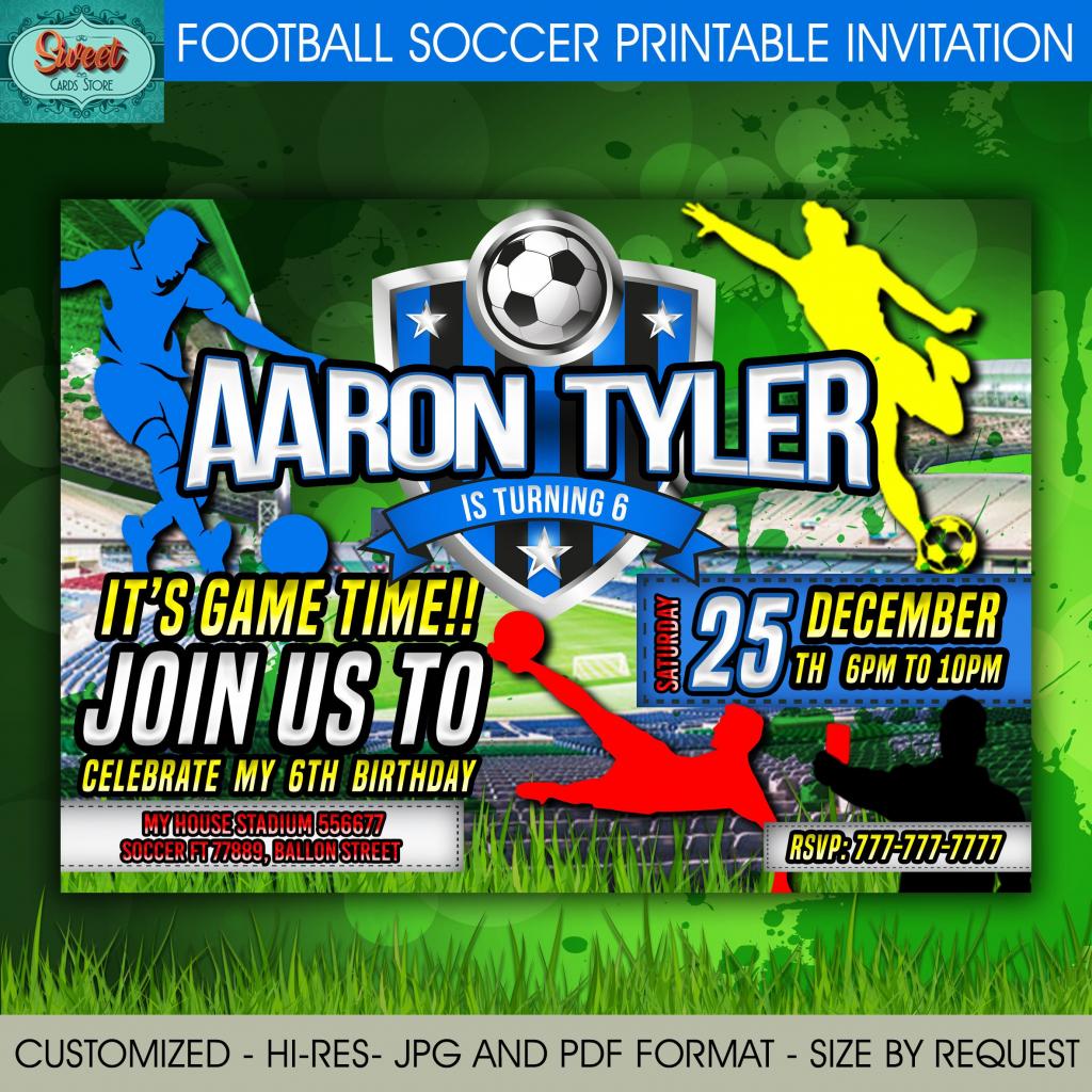 Football Soccer Printable Digital Invitation Sport Party | Etsy | Soccer Referee Cards Printable