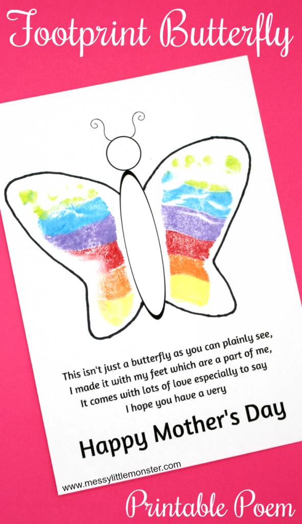 Footprint Butterfly Poem - Printable Mother's Day Card   Preschool   Mothers Day Poems Cards Printable