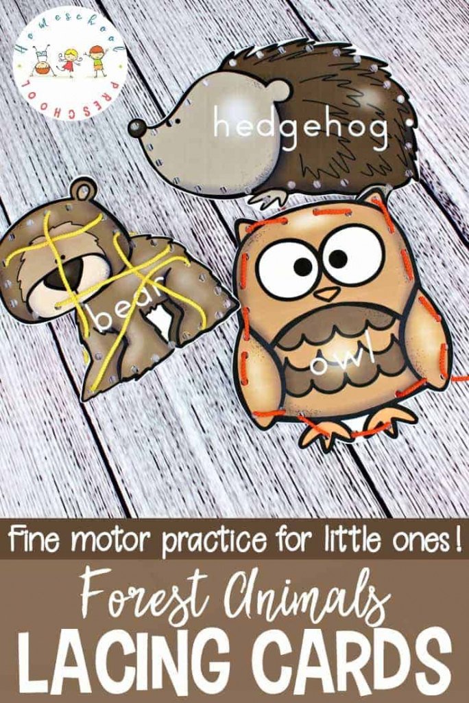Forest Animal Printable Lacing Cards For Fine Motor Practice   Printable Lacing Cards Numbers