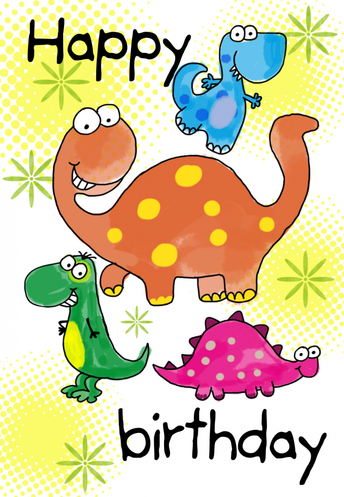 Four Cute Dinosaurs Birthday Card   Greetings Island   Happy Birthday From All Of Us Printable Cards