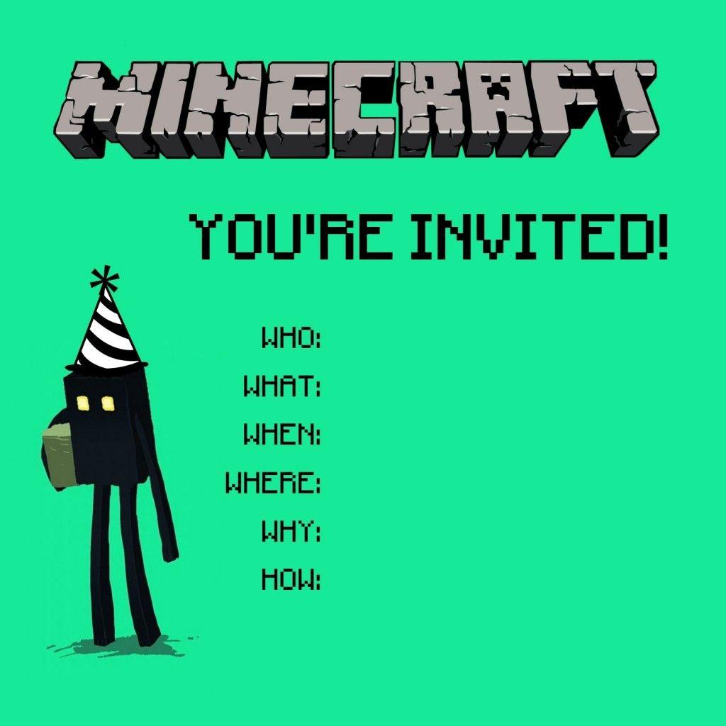Free 10 Year Old Girls Birthday Invitation   Payton's 10Th Birthday   Minecraft Birthday Card Printable