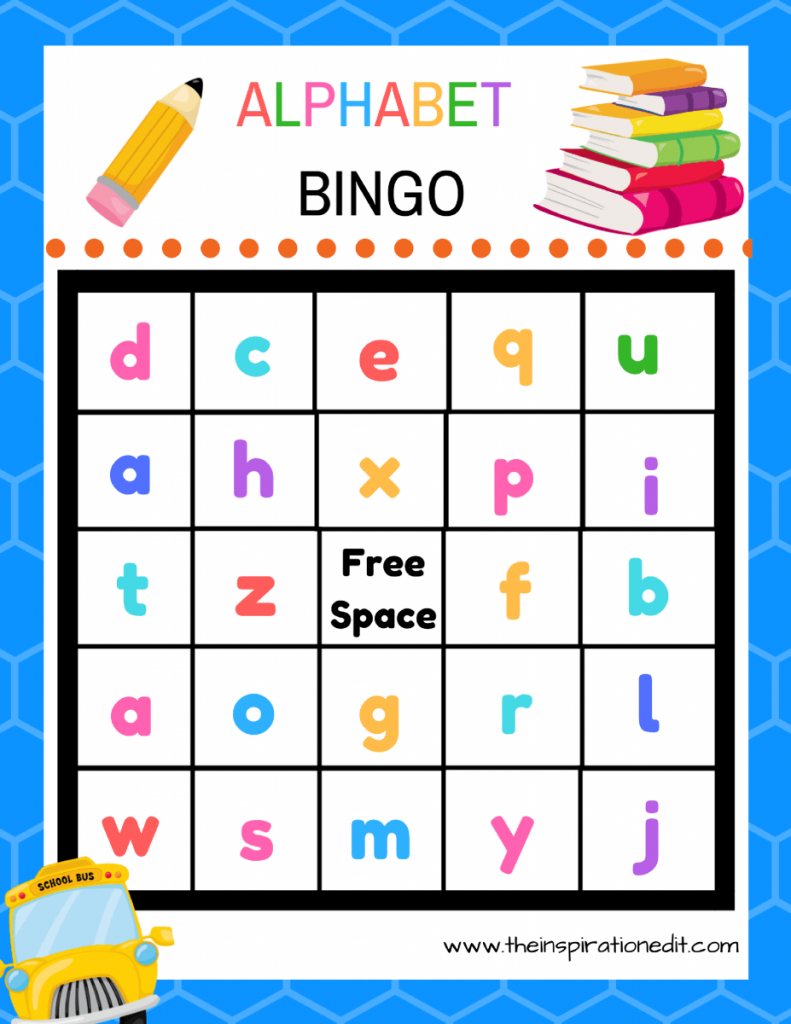 Free Alphabet Bingo Printable For Kids · The Inspiration Edit   Free Printable Alphabet Bingo Cards