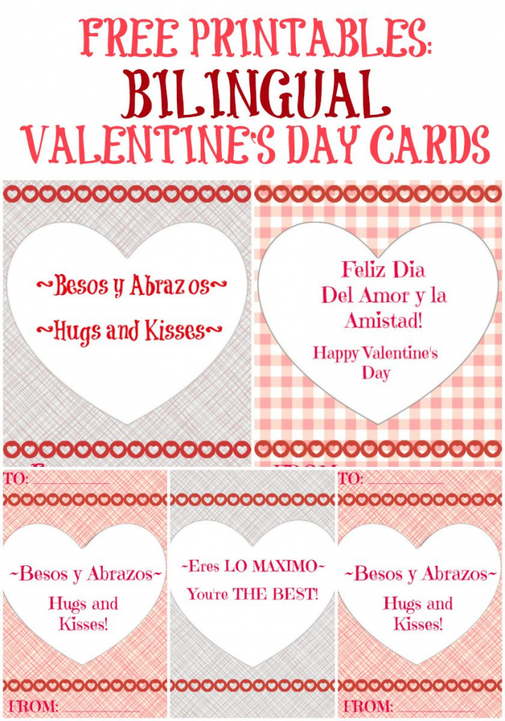Free Bilingual Valentine's Day Cards! | Art/music/spanish/science | Mothers Day Cards In Spanish Printable