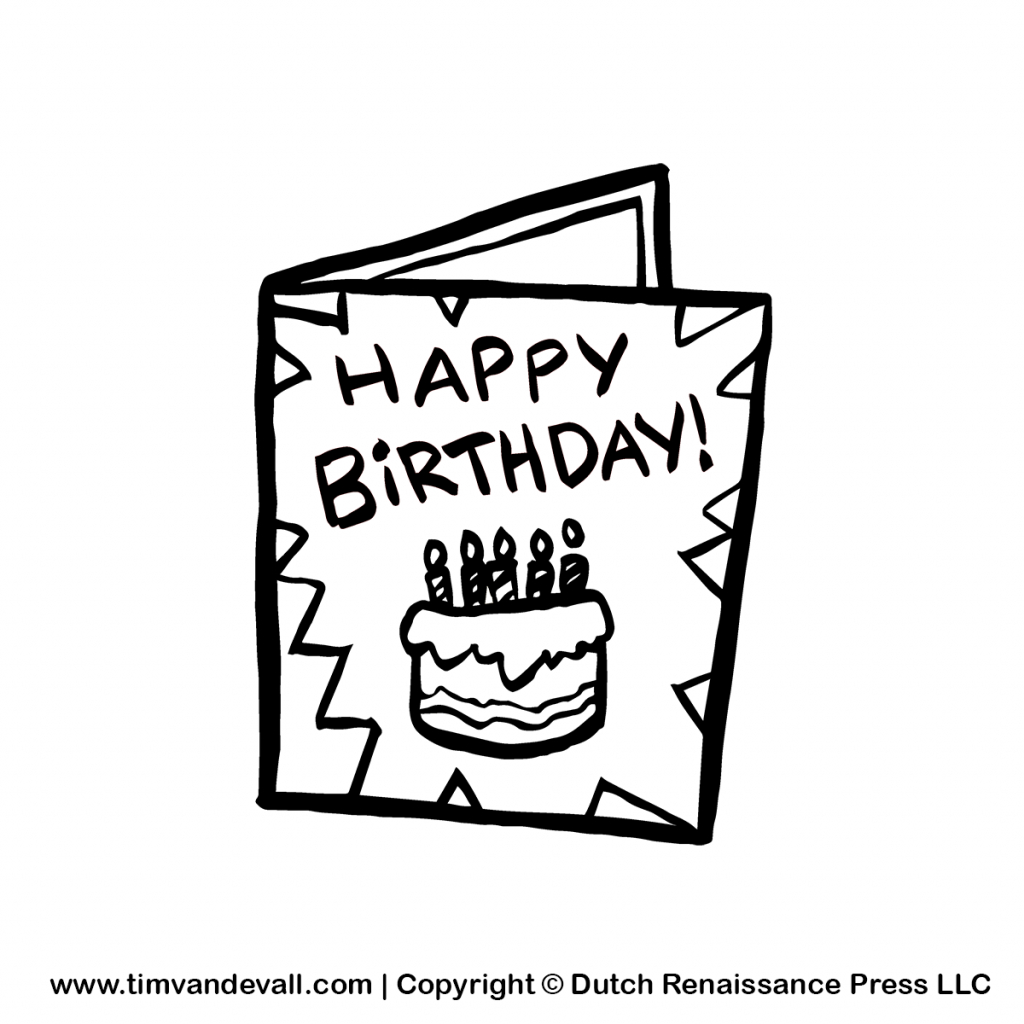 Free Birthday Card Cliparts, Download Free Clip Art, Free Clip Art | Black And White Birthday Cards Printable