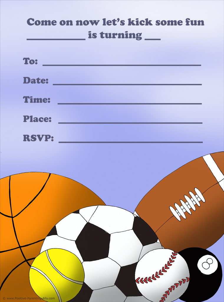Free Birthday Invitations To Print For Kids: Choose Your Theme | Printable Sports Birthday Cards