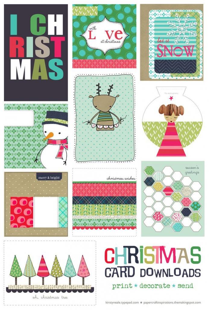 Free Christmas Card Printable Set | Printable Cards | Printable | Christmas Cards Download Free Printable