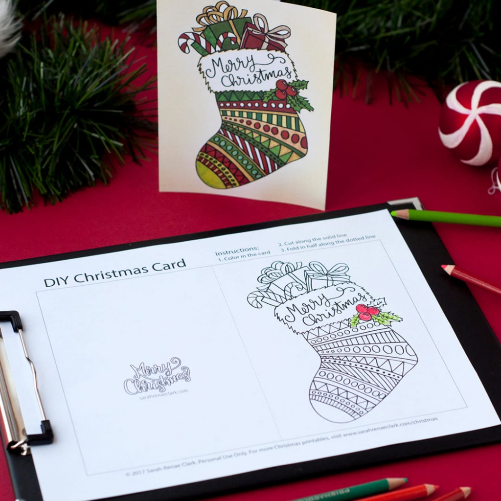Free Christmas Coloring Card - Sarah Renae Clark - Coloring Book   Create Your Own Free Printable Christmas Cards