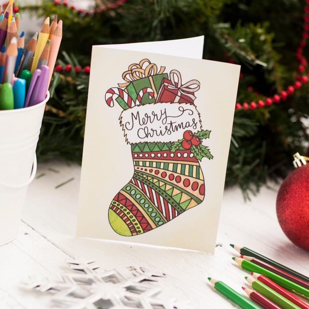 Free Christmas Coloring Card - Sarah Renae Clark - Coloring Book | Make A Holiday Card For Free Printable