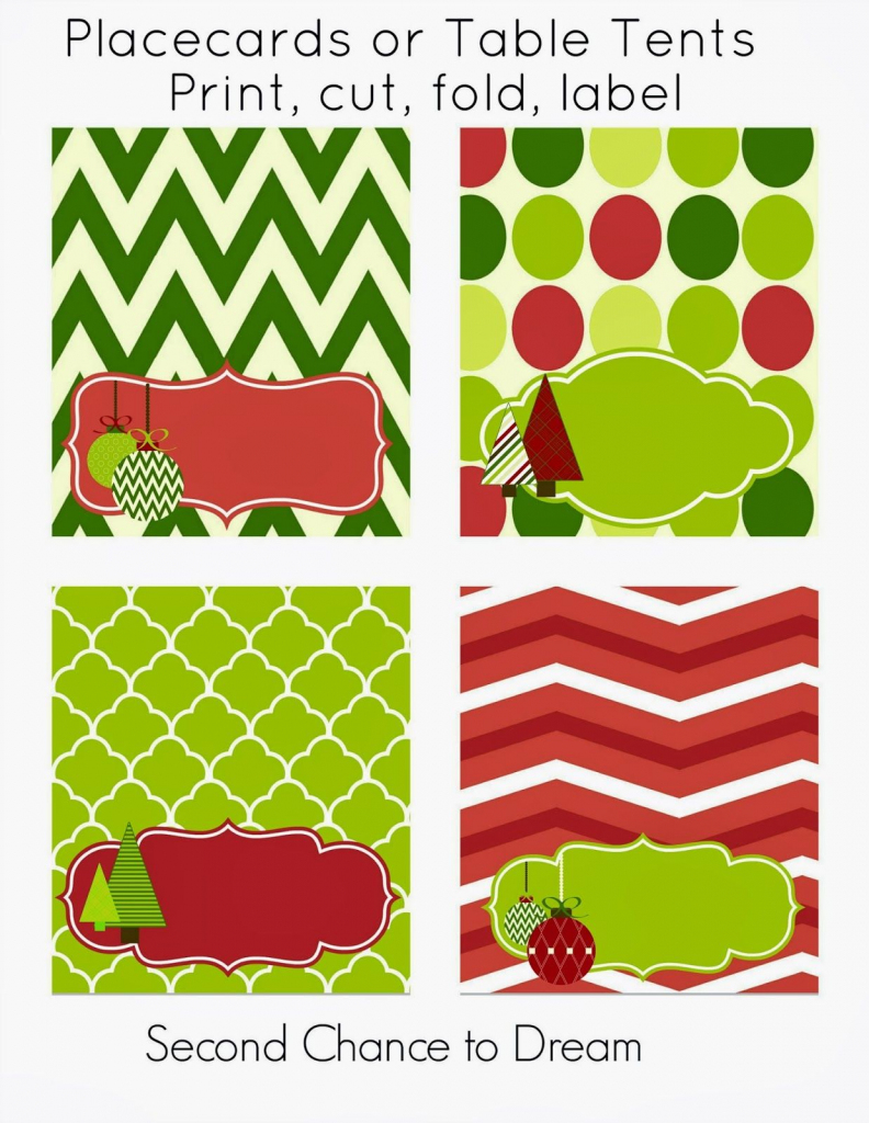 Free Christmas Party Printables | Printables | Christmas Place Cards | Free Printable Christmas Tent Cards