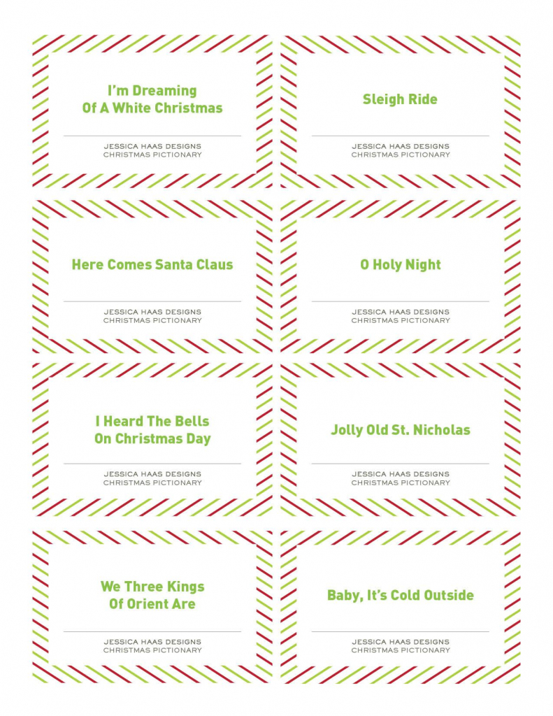 Free Christmas Pictionary Game   Holiday Ideas   Christmas Games   Free Printable Christmas Pictionary Cards