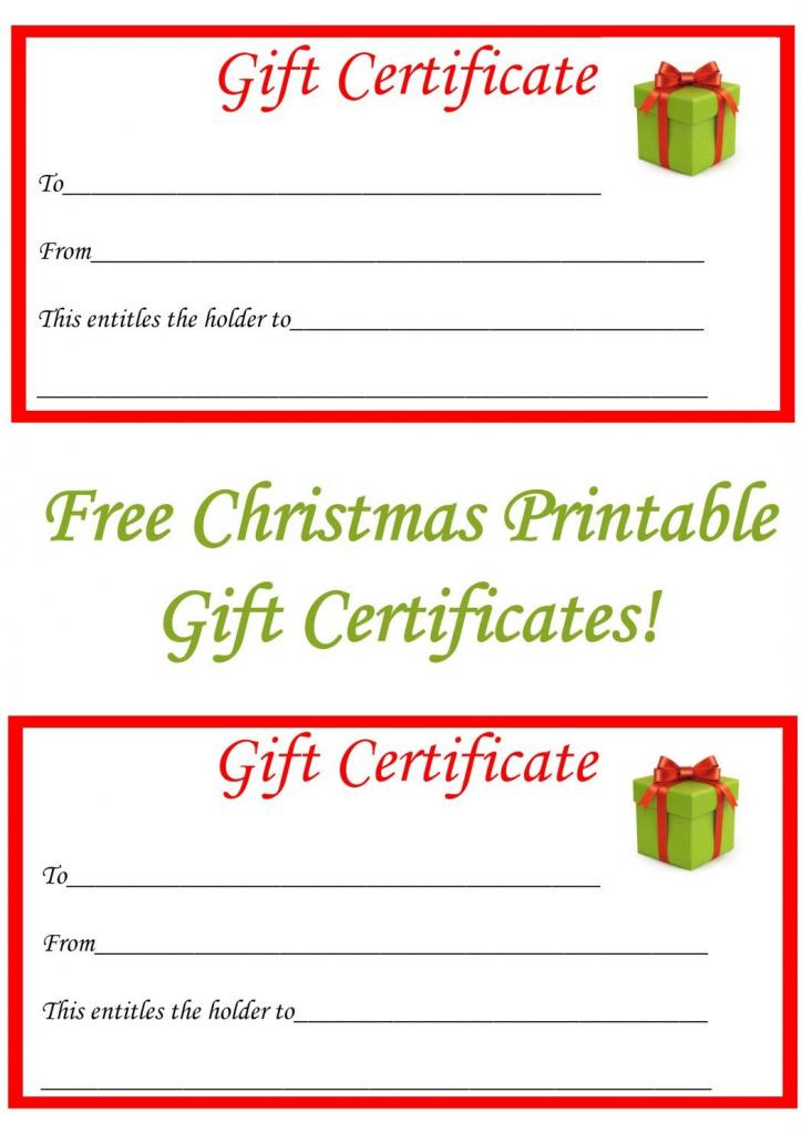Free Christmas Printable Gift Certificates | Gift Ideas | Christmas | Free Printable Christmas Gift Cards
