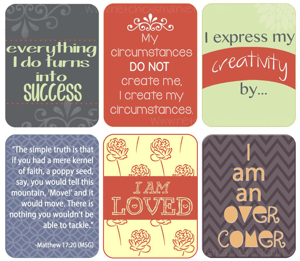 Free Download: Positive #affirmations Printable - Include Them With   Free Printable Positive Affirmation Cards