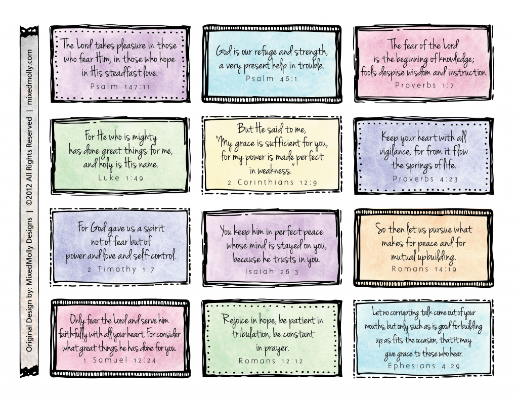 Free Downloadable Scripture Cards. Print On Card Stock And Place On   Free Printable Scripture Cards