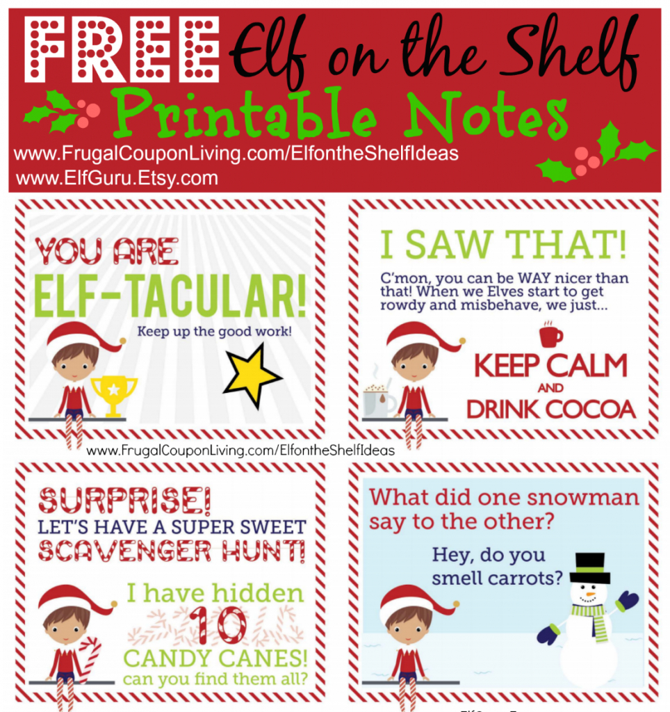Free Elf On The Shelf Notes. | Holiday Inspirations! | Elf On The | Elf On The Shelf Printable Note Cards