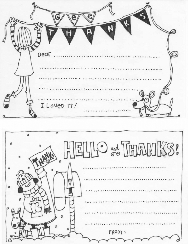 Free Fill In The Blank Thank You Cards For Kids   Skip To My Lou   Printable Thank You Cards To Color