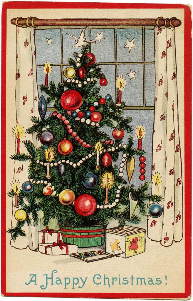 Free Freebie Printable Vintage Christmas Postcard, Christmas Tree | Printable Vintage Christmas Cards