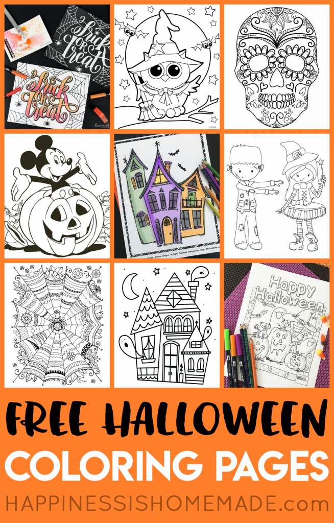 Free Halloween Coloring Pages For Adults & Kids - Happiness Is Homemade   Printable Halloween Cards To Color For Free
