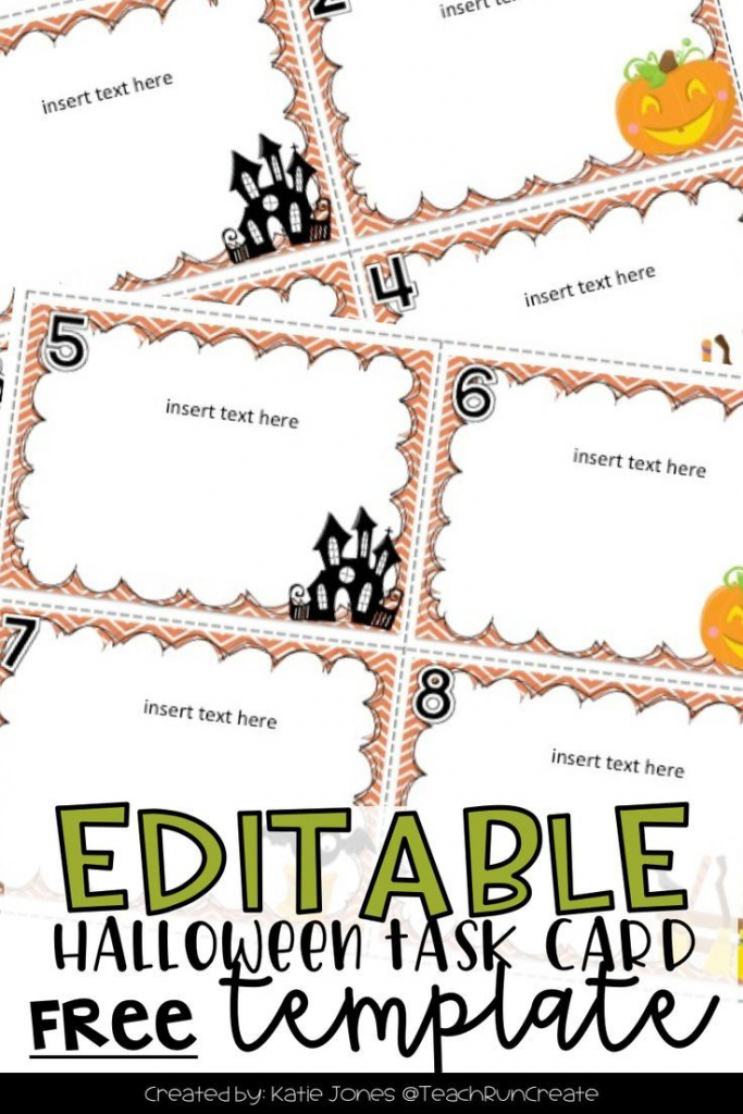 Free Halloween Task Card Template - Customize Your Own Task Cards | Free Printable Blank Task Cards