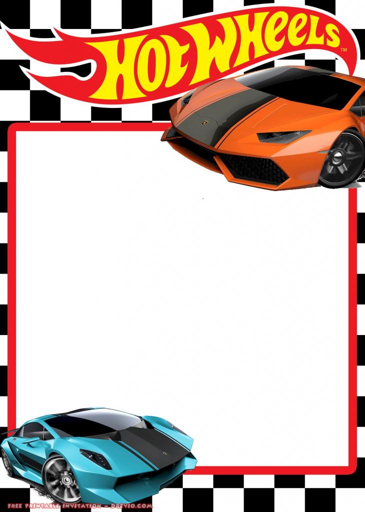 Free Hot Wheels Lamborghini Invitation | Free Printable Birthday | Hot Wheels Birthday Cards Printable