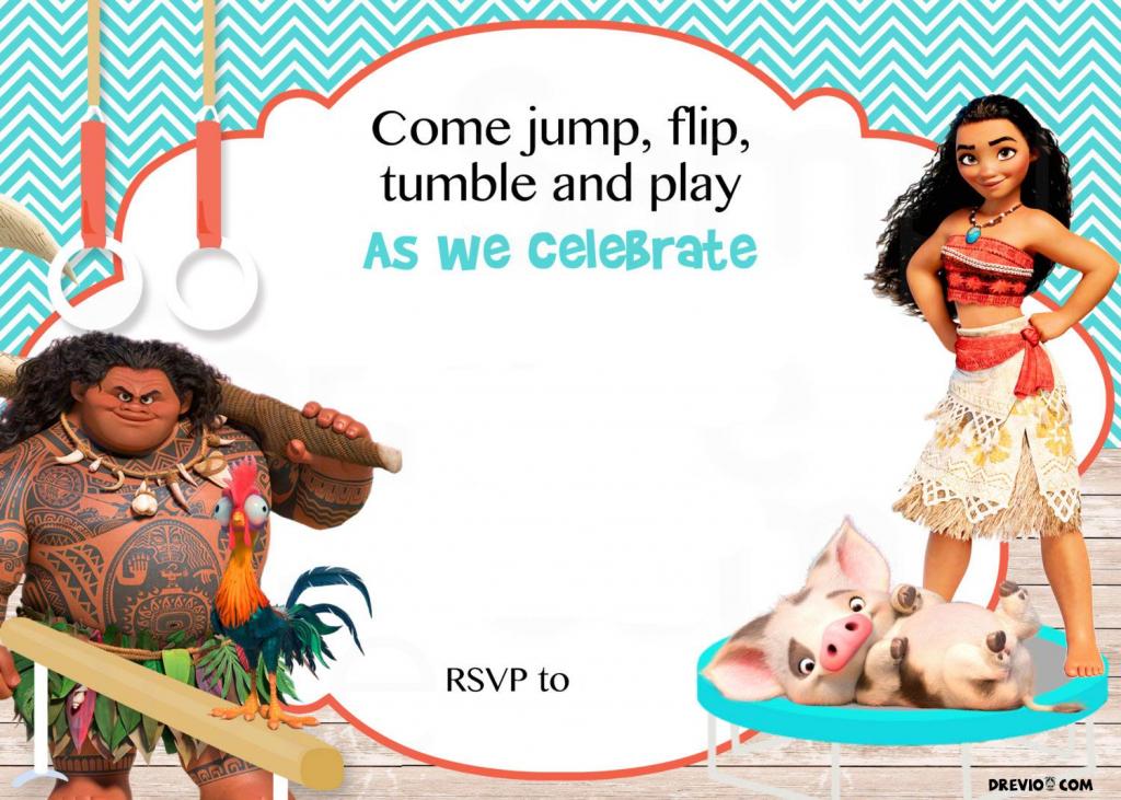 Free Moana Birthday Invitation | Birthday Invitation For Kids | Moana Birthday Card Printable