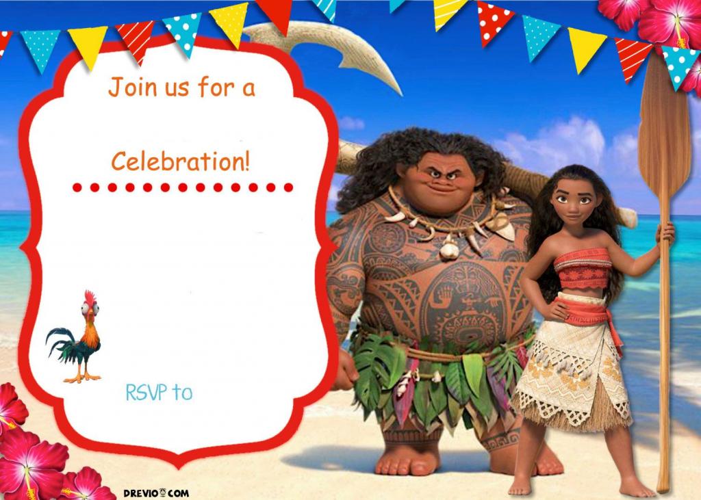 Free Moana Birthday Invitation | Zoey 4Th Birthday | Moana | Moana Birthday Card Printable