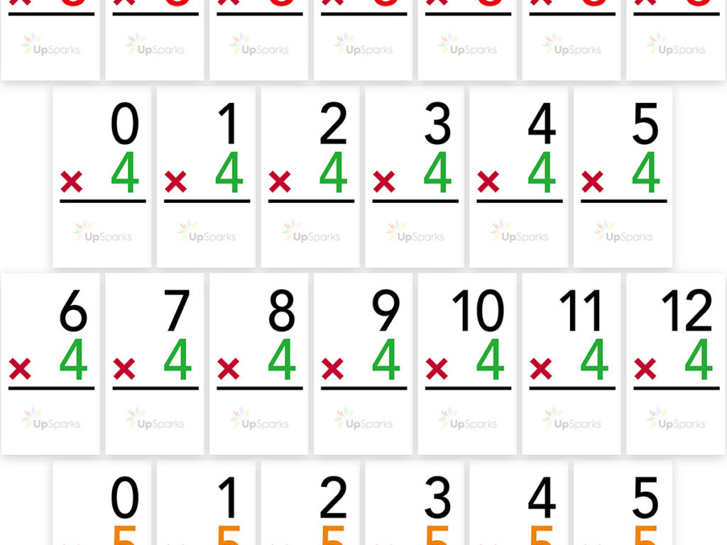 Free Multiplication Flash Cards Printable Sheets From Upsparks | Free Printable Multiplication Flash Cards