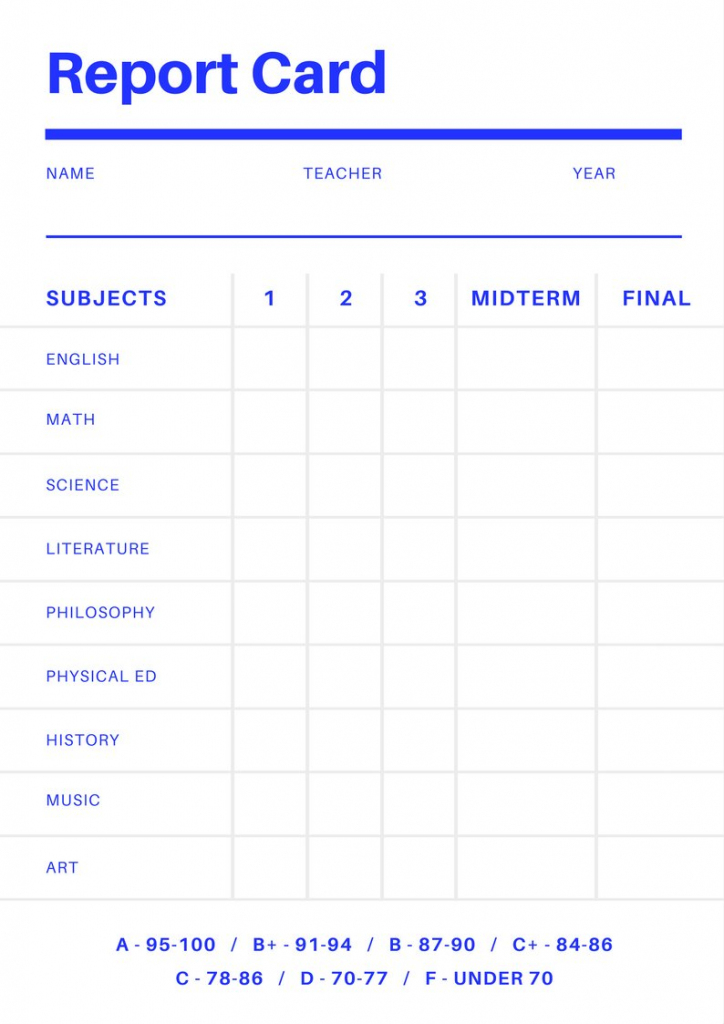 Free Online Report Card Maker: Design A Custom Report Card In Canva | Free Printable Grade Cards