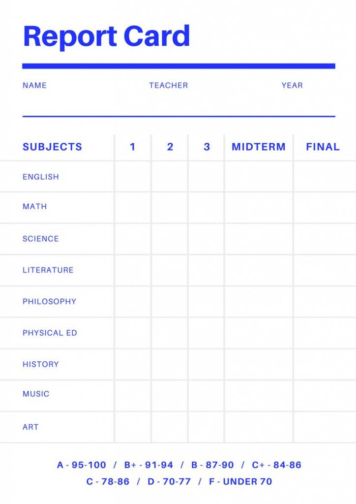 Free Online Report Card Maker: Design A Custom Report Card In Canva | Printable Preschool Report Card Template