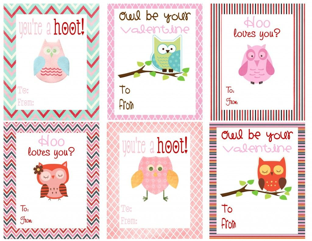 Free Owl Printables | Free Printable Valentine's Day Cards For Kids | Free Printable Childrens Valentines Day Cards