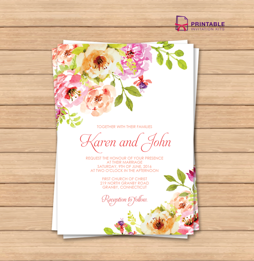 Free Pdf Wedding Invitation Template With Editable Texts. Vintage | Printable Wedding Invitation Card Sample