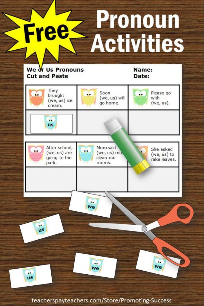 Free Personal Pronouns Task Cards { We Or Us }, Grammar Practice | Free Printable Kindergarten Task Cards