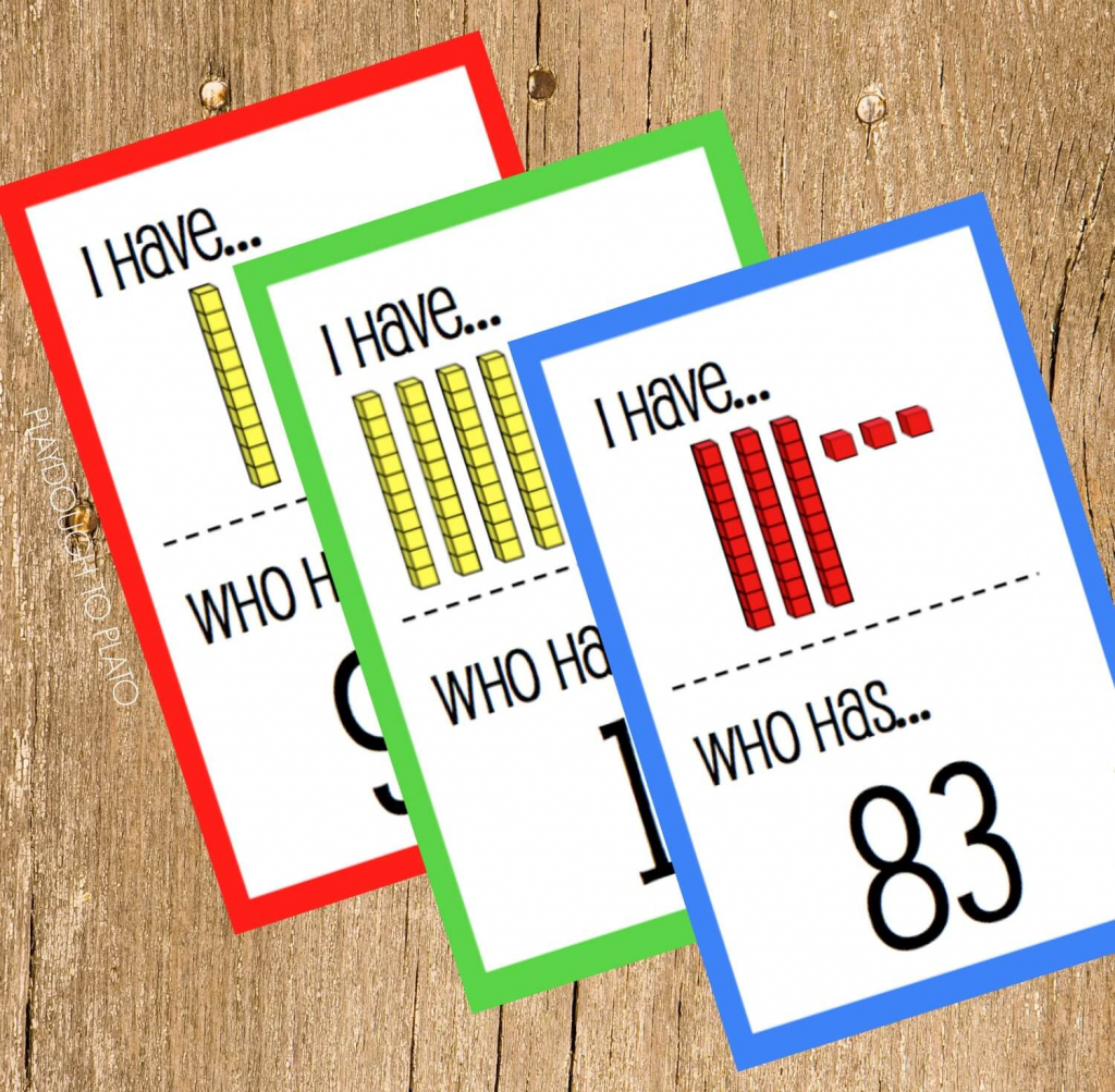 Free Place Value I Have, Who Has - Playdough To Plato   Base Ten Picture Cards Printable