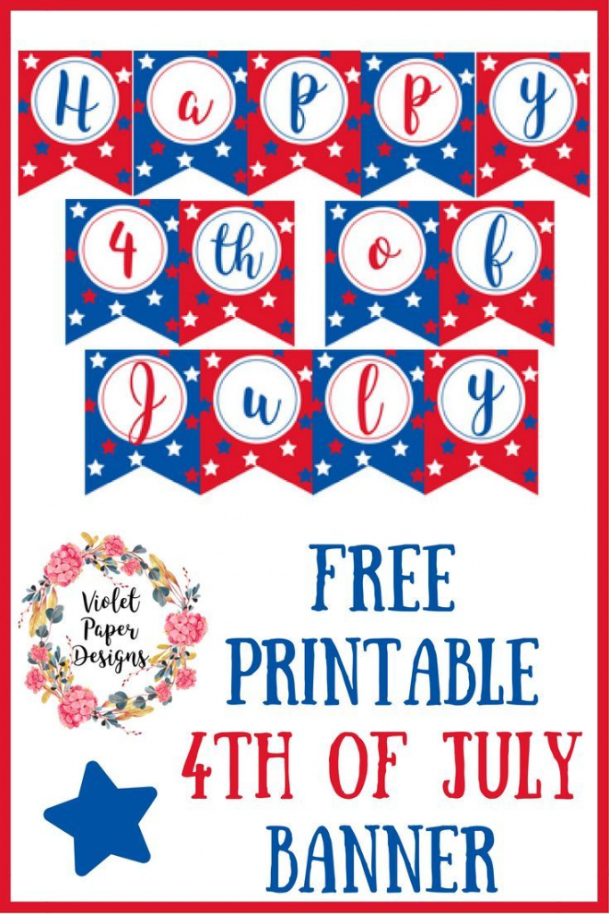 Free Printable 4Th Of July Banner | Banners | Imprimibles, Verbos | Happy 4Th Of July Cards Printable