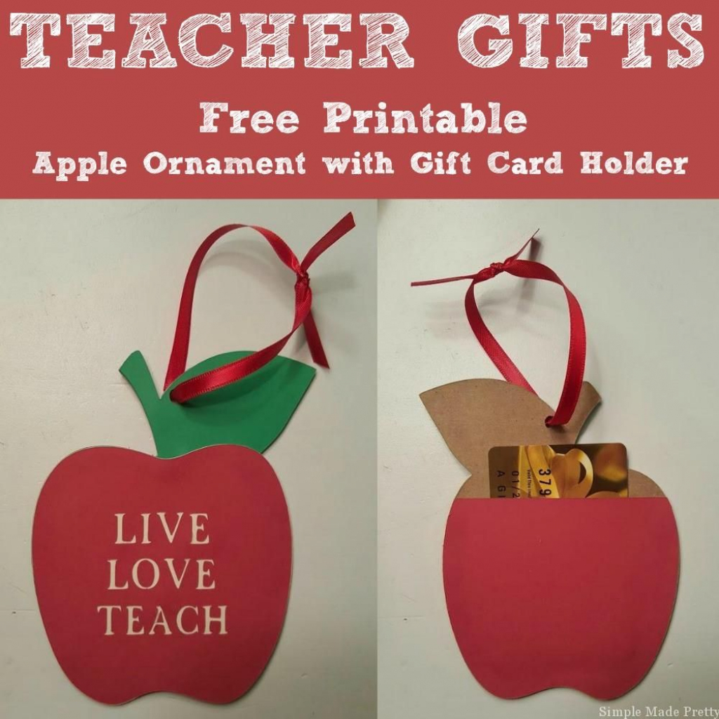 Free Printable Apple Ornament With Gift Card Holder Teachers Gift   Free Printable Christmas Cards With Photo Insert