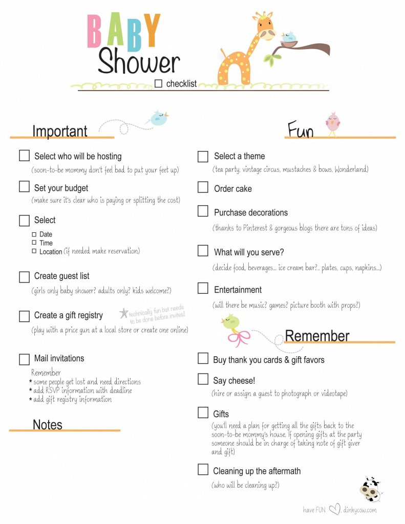 Free Printable Baby Shower Checklist |  Paste The Link Below Into | Free Printable Baby Registry Cards