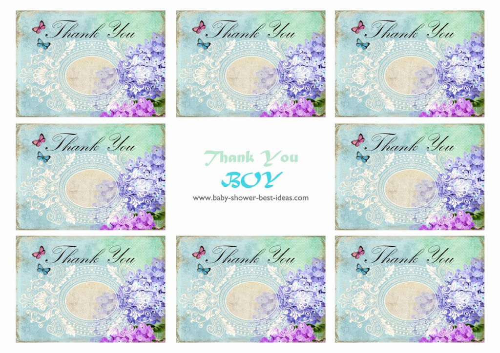 Free Printable Baby Shower Thank You Cards | Free Printable Mermaid Thank You Cards