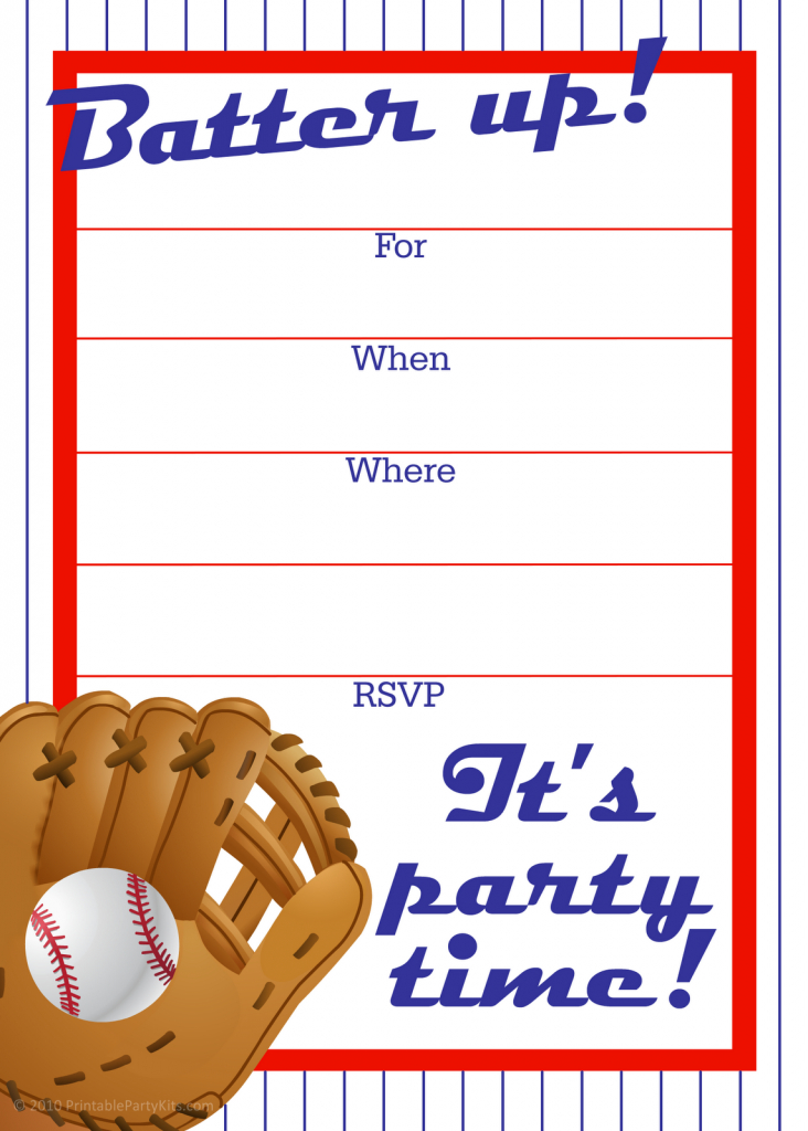 Free Printable Baseball Party Invitation | Party Printables | Printable Sports Birthday Cards