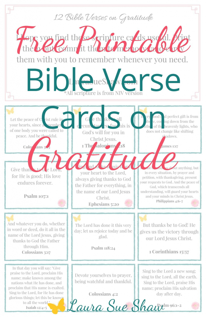 Free Printable Bible Verse Cards On Gratitude | Prayer | Printable | Free Printable Bible Verse Cards