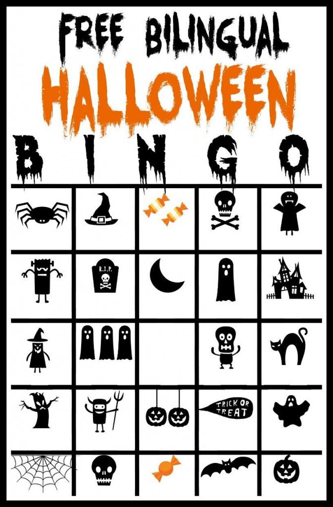 Free Printable Bilingual Halloween Bingo Game | Halloween Crafts And | Fun Printable Halloween Bingo Cards