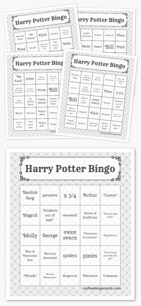Free Printable Bingo Cards | Harry Potter Party | Harry Potter Bday | Printable Bingo Cards 4 Per Page