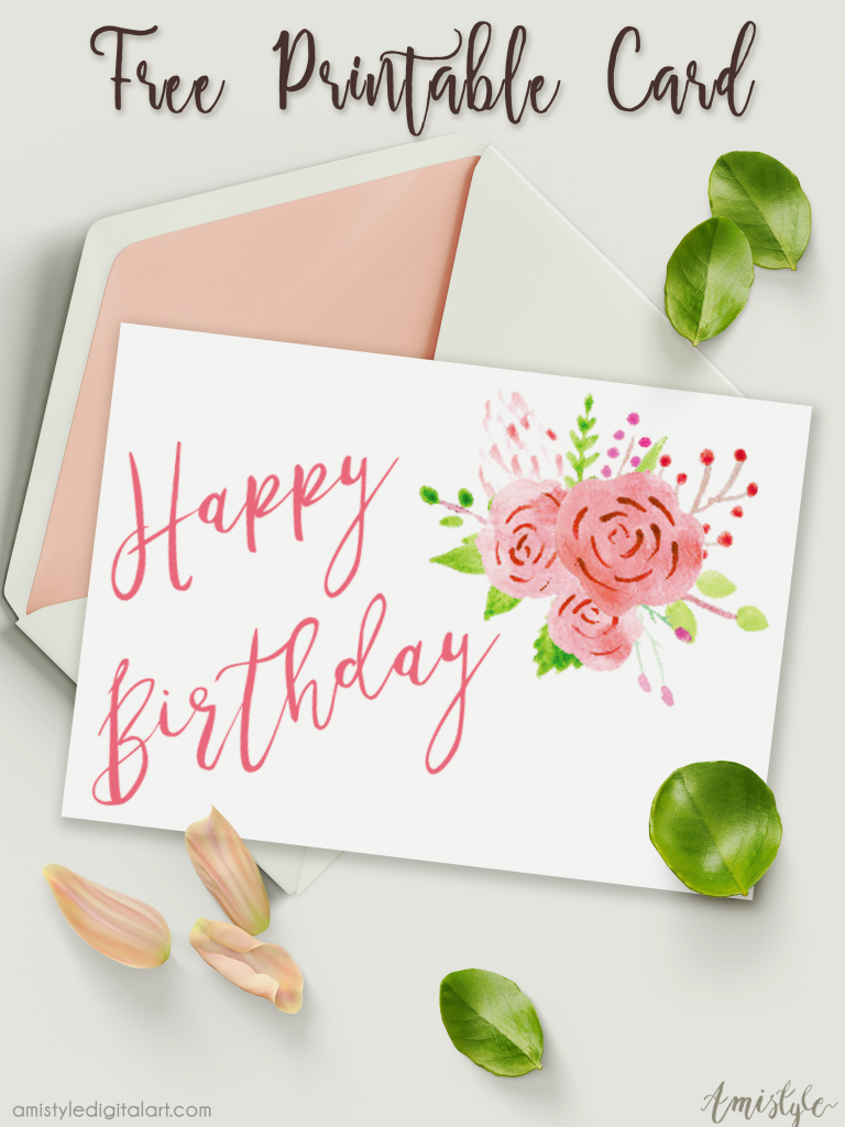 Free Printable Birthday Card With Watercolor Floral Design | Free Printable Birthday Cards For Wife