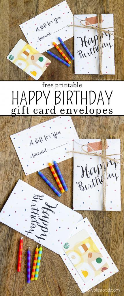 Free Printable Birthday Gift Card Envelopes - Yellow Bliss Road   Gift Card Printable Envelope