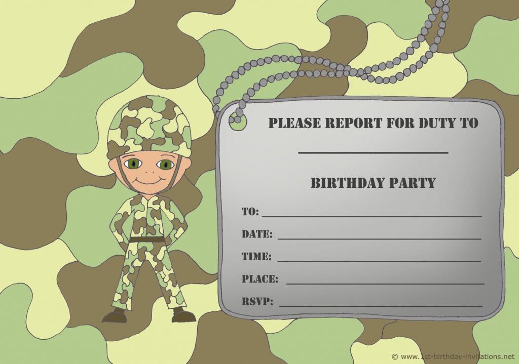 Free Printable Birthday Invitations For Boy - New Birthday Card | Army Birthday Cards Printable