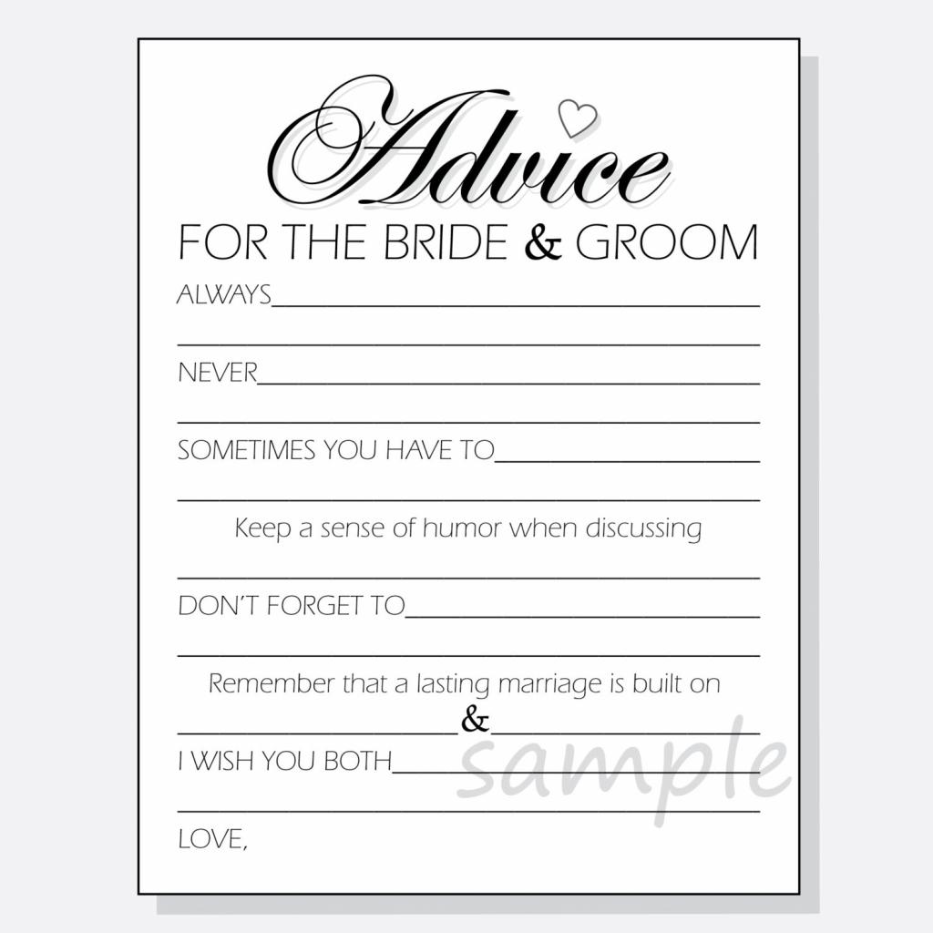 Free Printable Bridal Shower Advice Cards | Free Printables | Free Printable Bridal Shower Advice Cards