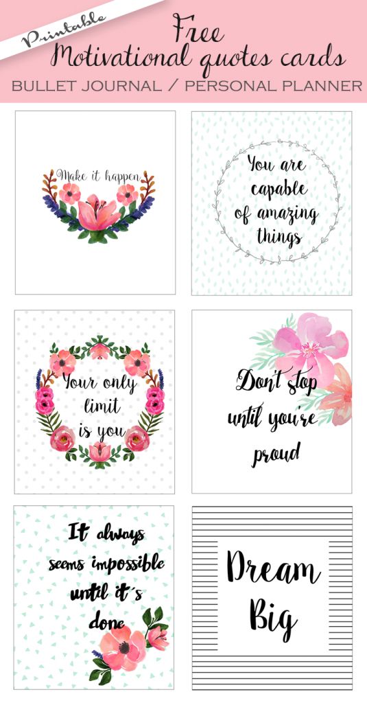 Free Printable Bullet Journal Cards. Personal Planner Cards | Free Printable Personal Cards