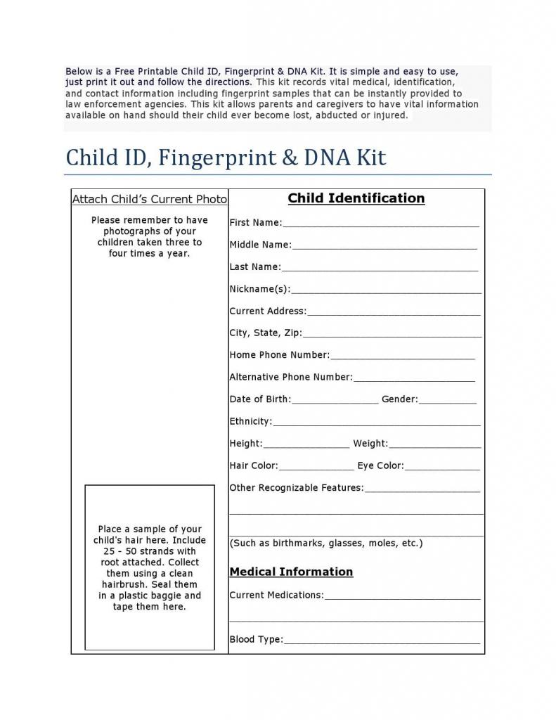 Free Printable Child Id Card | Child Binder | Children, Printables | Free Printable Child Identification Card